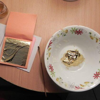 šķidrā zelta gatavošana no lapiņu zelta