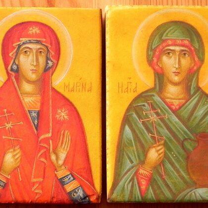 Miniatūras. Sv.Marina un Sv.Anastasija. 8x5,5cm