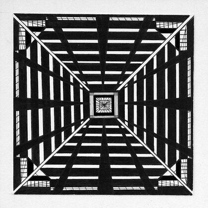 """""""Pilsētas ritms I"""". Papīrs, tuša. 10x10cm. 2005"""