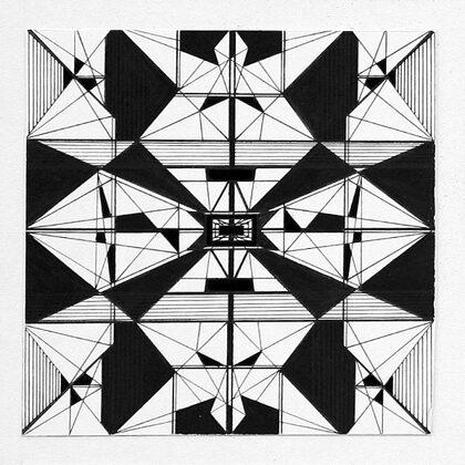 """""""Pilsētas ritms II"""". Papīrs, tuša. 10x10cm. 2005"""
