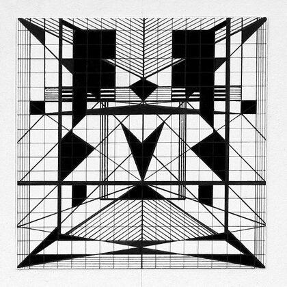 """""""Pilsētas ritms III"""". Papītrs, tuša. 10x10cm. 2005"""