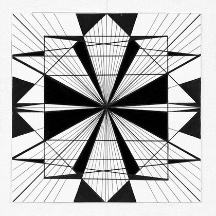 """""""Pilsētas ritms IV"""". Papīrs, tuša. 10x10cm. 2005"""