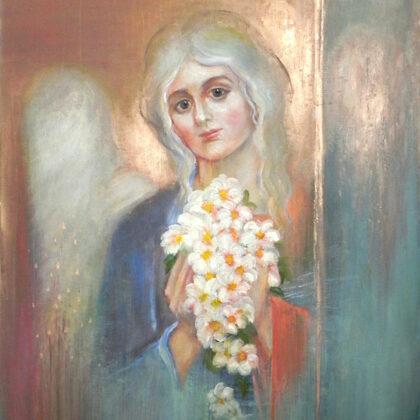"""""""Eņģelis"""". Audekls, eļļa, akrils. 1,20x85cm. 2016"""