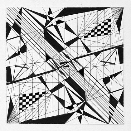 """""""Pilsētas ritms V"""". Papīrs, tuša. 10x10cm. 2005"""