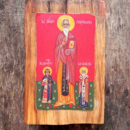Sv.Jānis Pakāpnieks, Sv.Georgijs, Sv.Vlasijs. 12,5x8cm