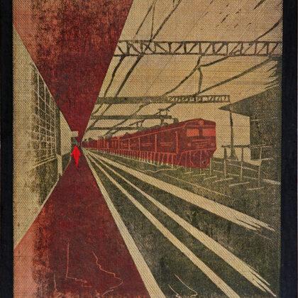 """""""Rīgas stacija rudenī"""". Linogriezums, autortehnika. 33x23,5cm. 2020"""