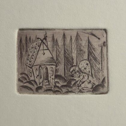 """""""Zvaigžņu zaglis"""". Oforts. Miniatūra. 8,5x6cm. 2020"""