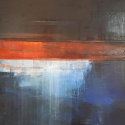 """""""Uguns un nakts. Rainis"""". Audekls, eļļa, pigments. 1,20x79,5cm. 2020"""