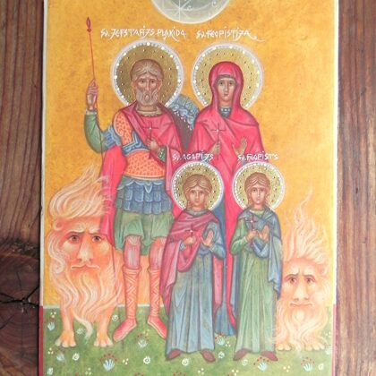 Sv.Jefstafijs Plakida, Sv.Feopistija, Sv.Agapijs, Sv.Feopists 22x16,5cm
