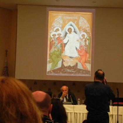 Konkursantu ikonu prezentācija Simpozijā, 2019.gada aprīlī Krētā