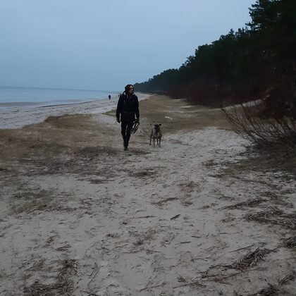 The Baltic Sea and my eldest son with our mister Riko!